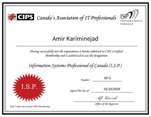 ISP Certificate