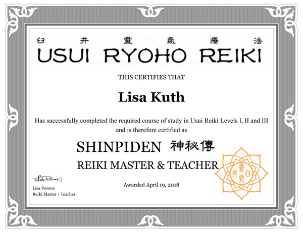 Usui Ryoho Reiki Master