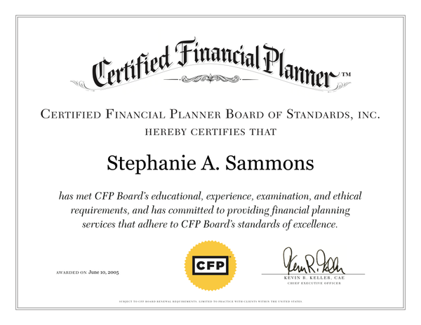 Stephanie Sammons, CERTIFIED FINANCIAL PLANNER™ Professional