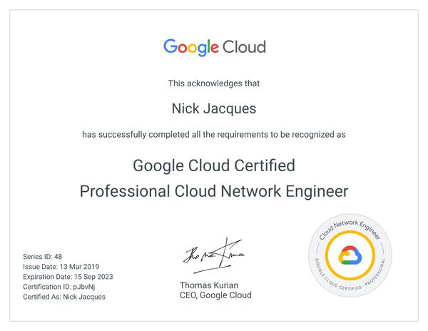 Google Certified Professional Cloud Network Engineer