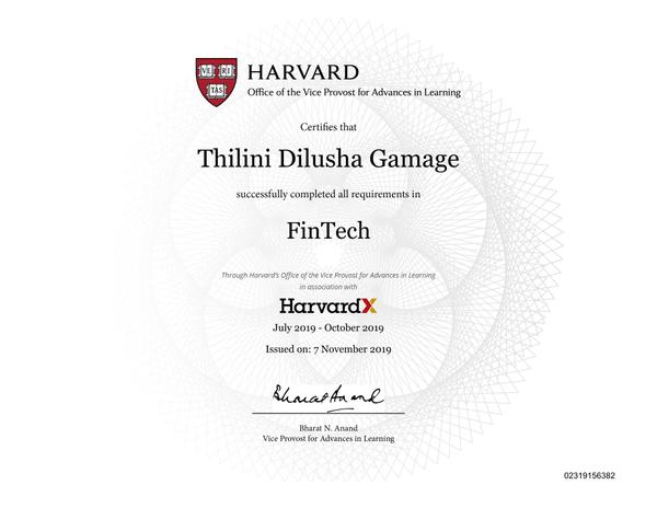 FinTech - Thilini Dilusha Gamage - HarvardX