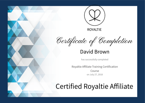 Royaltie Affiliate Certification