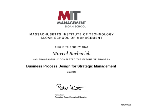MIT Management Sloan School Certificate - Business Process Design for Strategic Management