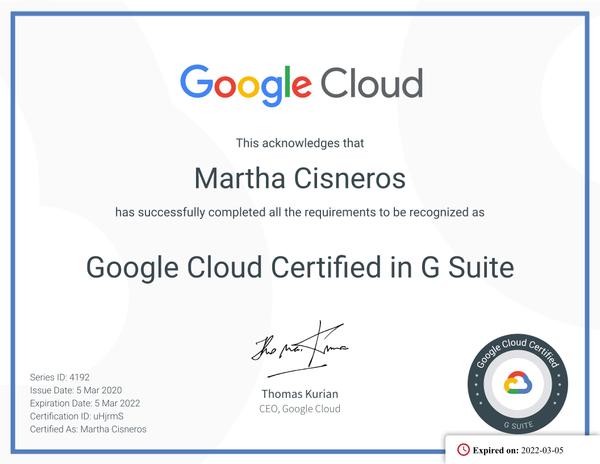 Google Cloud Certified in G Suite