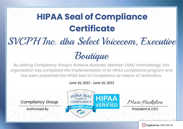 HIPAA Seal of Compliance Certificate