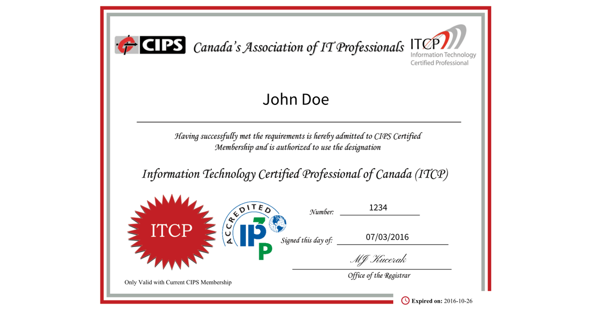 ITCP (Information Technology Certified Professional) Certification ...