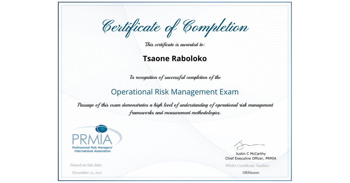 Operational Risk Manager Certificate Tsaone Raboloko Accredible