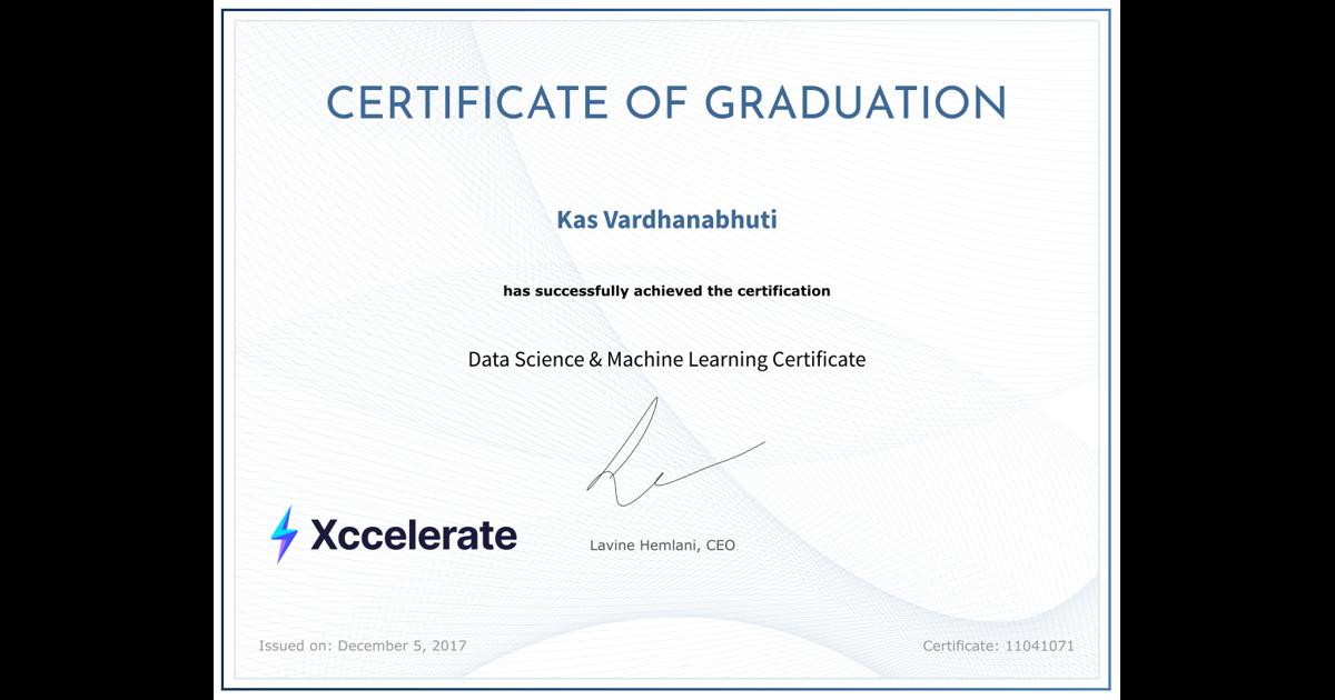 Data Science Machine Learning Certificate Kas Vardhanabhuti