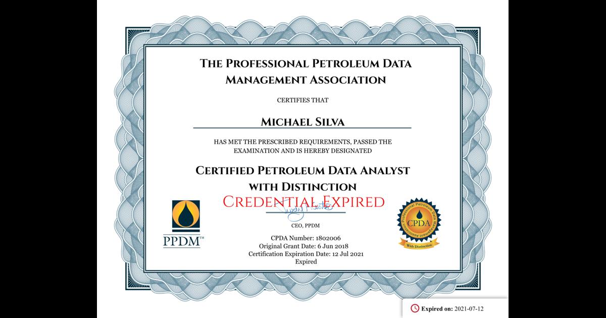 Certified Petroleum Data Analyst With Distinction Michael Silva