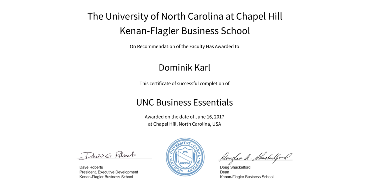 Unc Business Essentials Dominik Karl Accredible Certificates