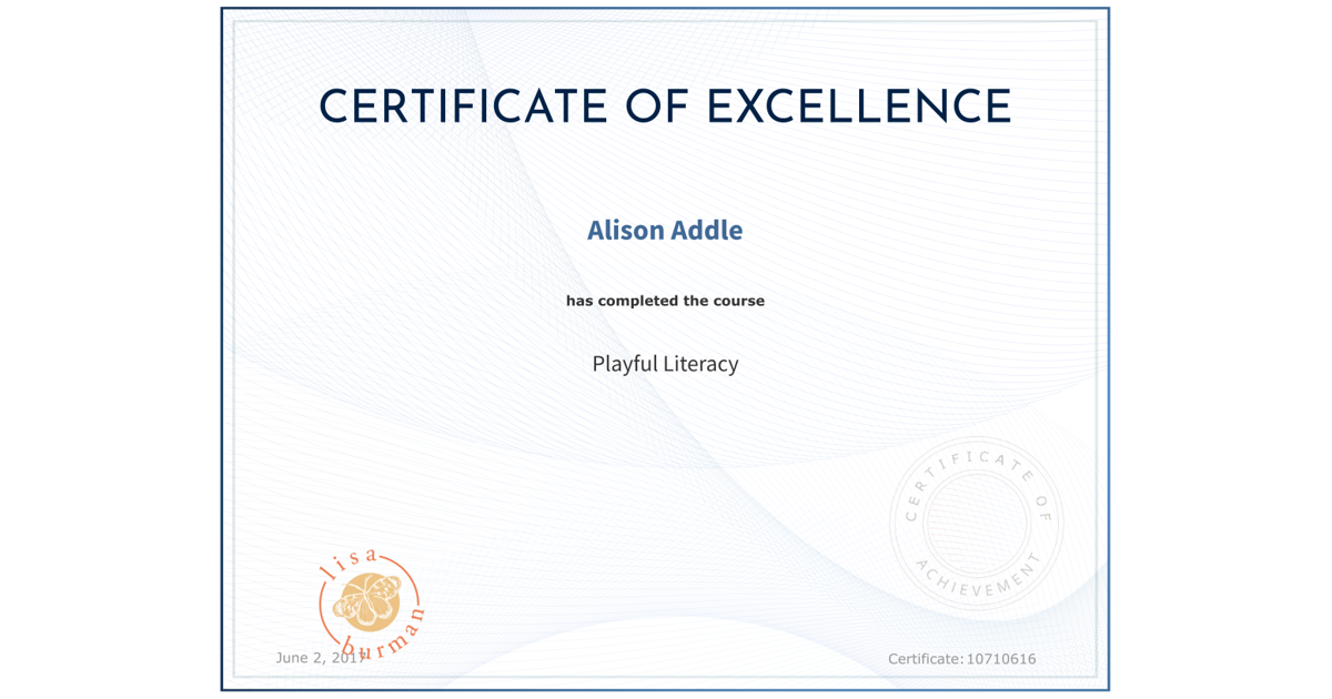Playful Literacy Alison Addle Accredible Certificates Badges