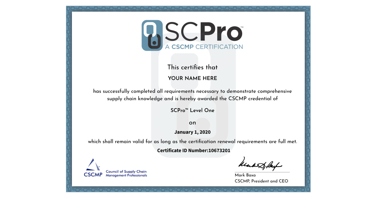 Just Received My Cscmp Scpro Level 1 Supply Chain Certification
