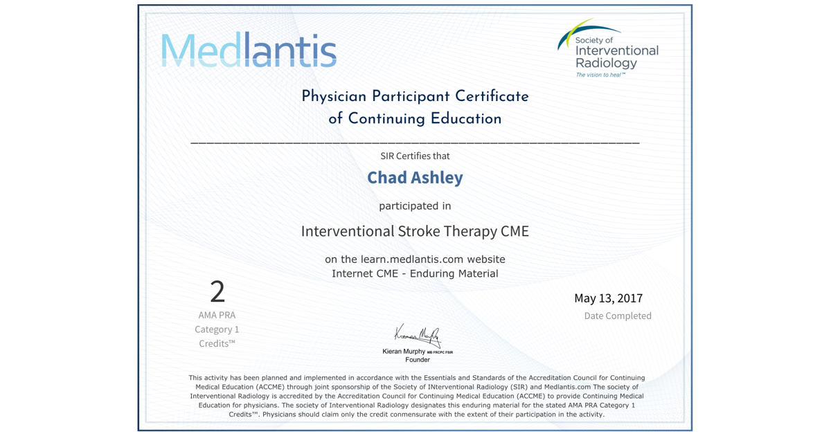 Interventional Stroke Therapy Cme Chad Ashley Accredible