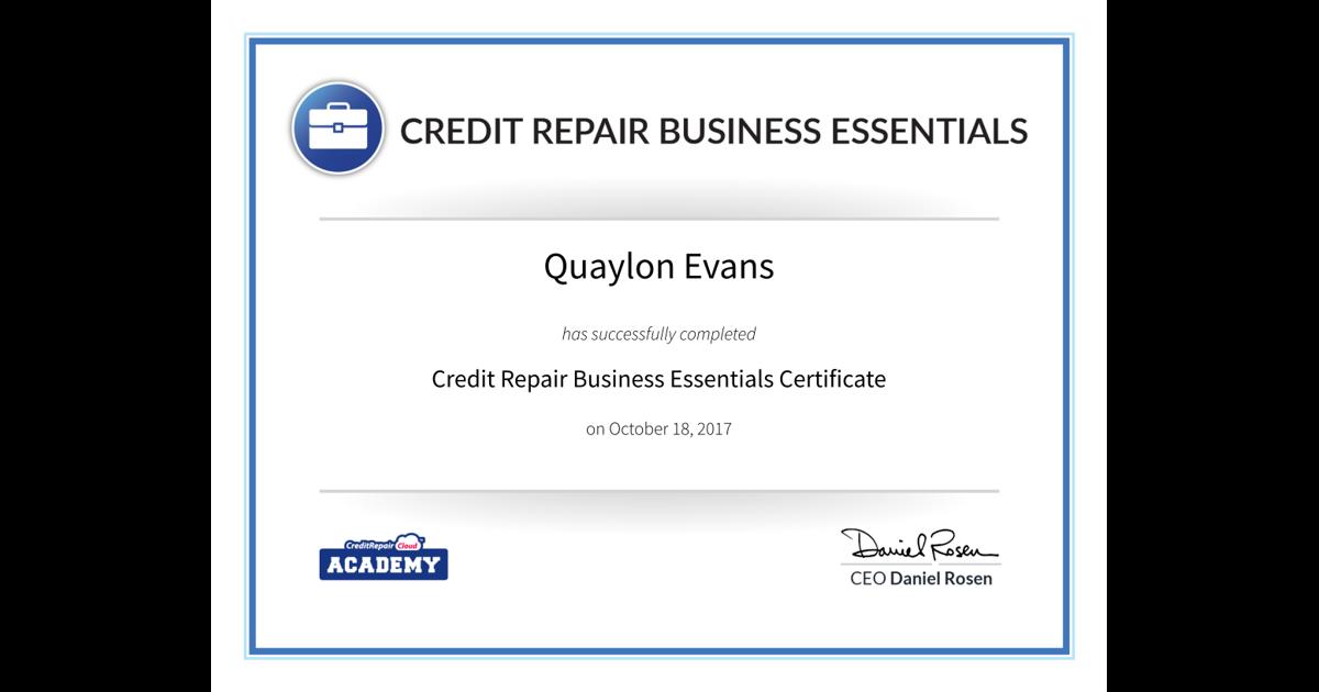 Credit Repair Business Essentials Quaylon Evans Accredible