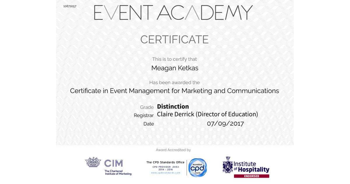 Certificate In Event Management Meagan Ketkas Accredible