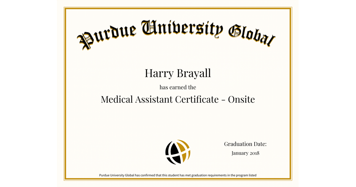Purdue University Global e-Diploma - Harry Brayall : Accredible ...