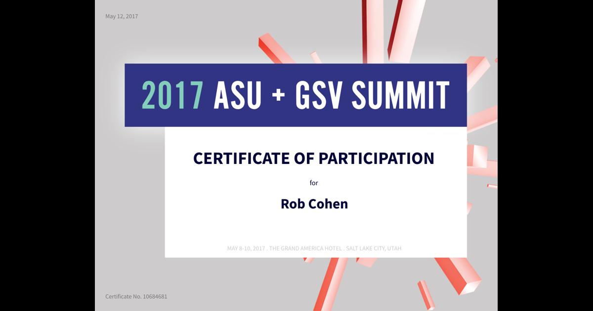 2017 Asu Gsv Summit Rob Cohen Accredible Certificates Badges